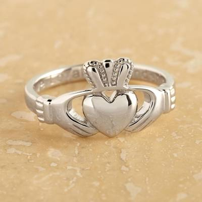 Sterling silver band ring, Crowned Claddagh