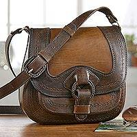 Leather shoulder bag, 'Journey to La Paz' - Bolivian Hand Tooled Brown Leather Shoulder Bag