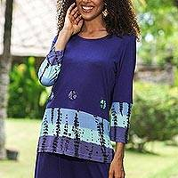 Knit viscose top, 'Bandhani' - Bandhani Shirt