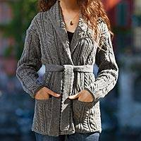 Belted wool sweater jacket, 'Donegal Tides' - Irish Aran Belted Sweater Jacket