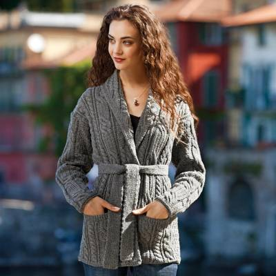 Belted wool sweater jacket, Donegal Tides