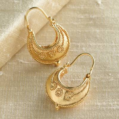 Gold vermeil hoop earrings, 'Etruscan Tribute' - Etruscan Hoop Earrings