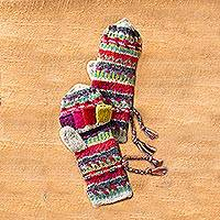 Wool convertible mittens, 'Kamala Stripes' - Kamala Convertible Mittens