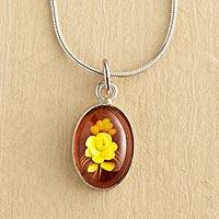 Amber pendant necklace, 'Rose Intaglio' - Amber Intaglio Rose Pendant Necklace on Silver Chain