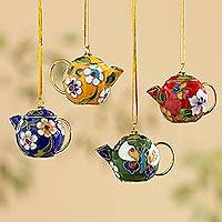 Cloisonne Christmas ornaments, 'Time for Tea' (Set of 4) - Cloisonné Teapot Ornaments-Set of 4
