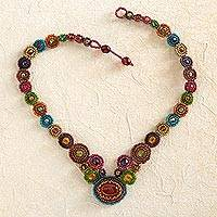 Glass beaded necklace, 'Ode to Atitlan' - Multicolored Maya Glass and Crystal Beaded Necklace