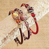 Glass beaded wrap bracelet, 'Sojourn in Venice' - Venetian Glass Wrap Bracelet