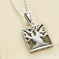 Connemara marble pendant necklace, 'Irish Fairy Tree' - Connemara Marble Irish Fairy Tree Pendant