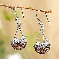 Copper and sterling silver dangle earrings, 'Robin's Nest' - Robin's Nest Earrings