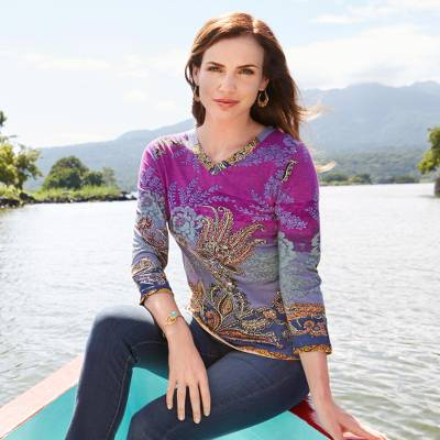 Rayon knit top, 'Exotic Boteh' - Indian Boteh Travel Shirt