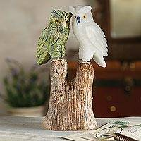 Serpentine and onyx sculpture, 'Curious Owls' - Peruvian Gemstone Owls