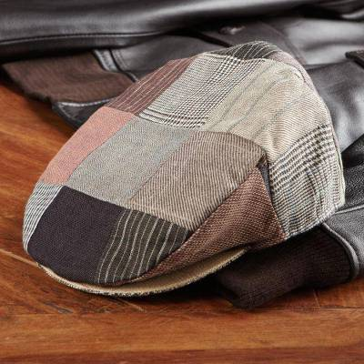 Men's linen cap, 'Ireland's Own' - Irish Linen Patchwork Cap