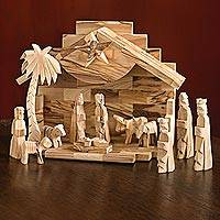 Olive wood nativity scene, 'Holy Land' (12 pieces) - Holy Land Olive Wood Nativity Set Made in Bethlehem (12 pc)