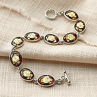 Amber link bracelet, 'Rose Intaglio' (Poland)