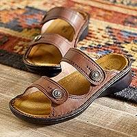 Adjustable leather sandals, 'Museum to Market' - Museum-to-market Adjustable Sandals