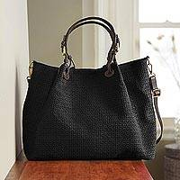 Suede tote bag, 'Italian Accent' - Italian Suede Woven Travel Tote