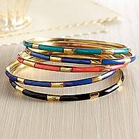 Stackable brass bangle bracelets, 'Sambhal Jingle' (set of 5) - Set of Five Stackable Indian Bangle Bracelets