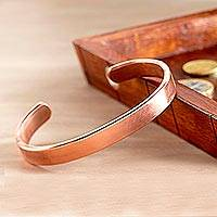 Copper cuff bracelet, 'Currency of the Continent' - Copper Currency Bracelet