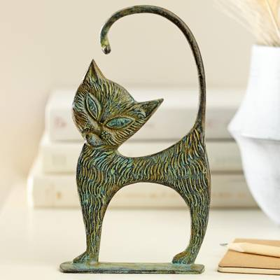 Brass sculpture, 'Colosseum Cat' - Bronze Colosseum Cat