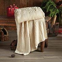 Wool throw blanket, 'Isle of Inishmore' - Irish Aran Throw