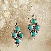 Turquoise dangle earrings, 'Himalayan Lake' - Four-stone Turquoise Earrings