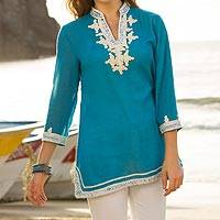 Embellished cotton tunic, 'Mughal Mystery' - Embroidered Woven Cotton Tunic with Sequins