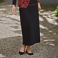 Rayon knit skirt, 'Timeless Black' - Comfort Travel Skirt