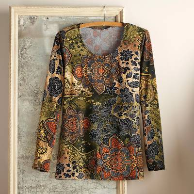 Jersey knit top, 'Magic Mehndi' - Mendhi Style Print Travel Shirt