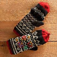 Convertible wool mittens, 'Pretty Patan' - Patan Hand-knit Gloves