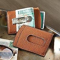 Leather money clip, 'Savvy Traveler' - Italian Money Clip