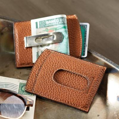 Leather money clip, Savvy Traveler