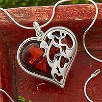 Cherry amber heart pendant necklace, 'Gift of the Heart' - Cherry Amber Heart Necklace in Sterling Silver