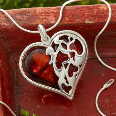 Cherry amber heart pendant necklace, 'Gift of the Heart' - Cherry Amber Heart Necklace