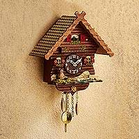 Mini cuckoo clock, 'Owl's Cottage' - German Owl Themed Mini Analog Cuckoo Wall Clock
