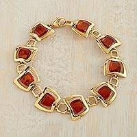Gold vermeil amber link bracelet, 'Ancient Stories' - Amber and 24k Gold Vermeil Link Bracelet from Poland