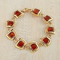 Gold vermeil amber link bracelet,