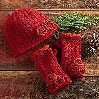Wool hat and mitts set, 'Nepali Rhododendron' - Red Knit Wool Hat and Mitts Set with Floral Accents