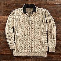 Men's wool sweater, 'Galway Pride' - Men's Irish Aran Quarter-zip Pullover