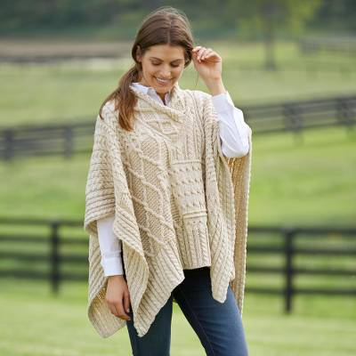 Wool poncho, 'Aran Plaits' - Women's Irish Plaited-Wool Poncho in Natural Ivory