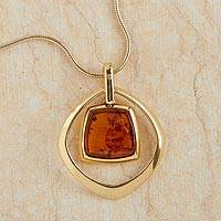 Gold vermeil amber pendant necklace, 'Ancient Stories' - Gdynia Amber Vermeil Necklace