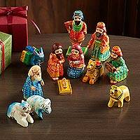 Wood nativity scene, 'Varanasi Christmas' (12 pieces) - Varanasi Folk Art Nativity