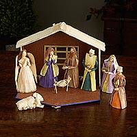 Cornhusk nativity scene, 'Nativity in Nepal' (9 pieces) - Nepali Cornhusk Nativity