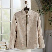 Embroidered linen jacket, 'Boteh Beauty' - Boteh Embroidered Linen Jacket