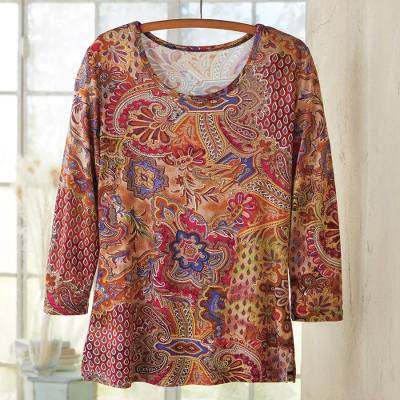 Rayon knit travel top, 'Perfect Paisley' - Indian Paisley Travel Shirt