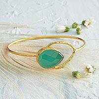 Gold plated chalcedony bangle bracelet, 'Anatolian Gold' - Anatolian Blue Gold Bracelet