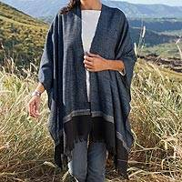 Zapotec cotton wrap, 'Mitla Memories' - Zapotec Hand Woven Cotton Wrap in Blue and Black