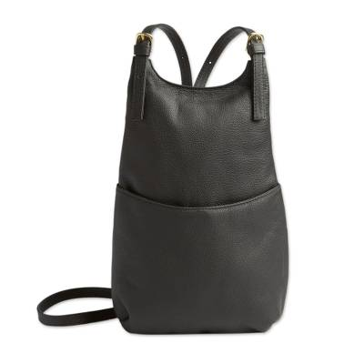 Leather backpack, 'Altiplano Attitude' - Stylish Bolivian Black Leather Women's Backpack