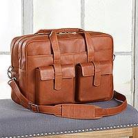 Leather carryall, 'Cochabamba Classic' - Brown Leather Unisex Carryall Briefcase or Travel Bag