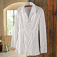 Cotton blouse, 'Lily of the Incas' - Women's Button-front White Cotton Blouse with Embroidery