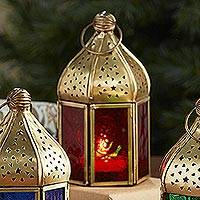 Embossed glass lantern, 'Festival Nights- Red'  - Indian Red Embossed Glass Lantern